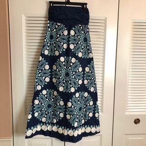 Anthropologie Maeve blue patterned strapless dress
